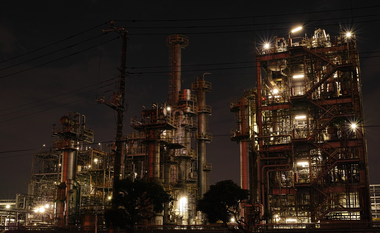 factory, night view, industrial